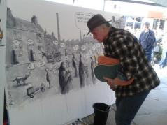 Bill Stott admires his own work