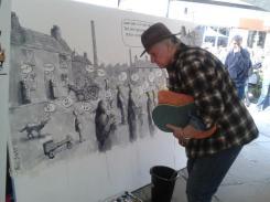 Bill Stott admires his own work