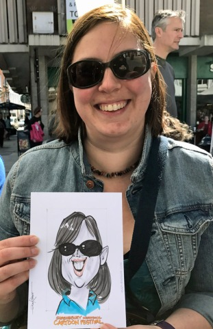 a 2017 visitor and her caricature