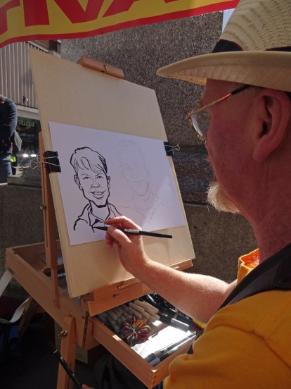 Steve Bright caricaturing the public