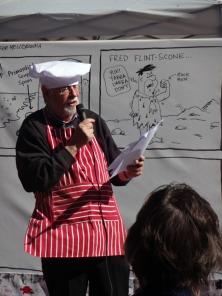 Roger Penwill narrating the pun-tastic 2017 Mellodrawma
